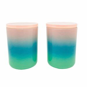 Ombré Pastels Glass Jars with Lid Set of 2